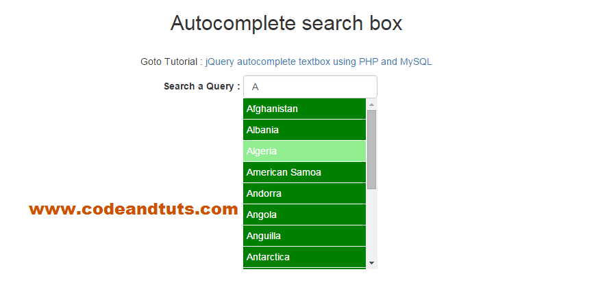 jquery ajax autocomplete example using PHP and Ajax